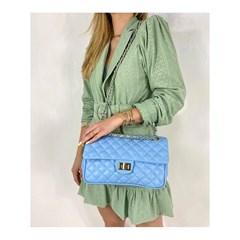 Bolsa em Couro Azul Matelassê 2469