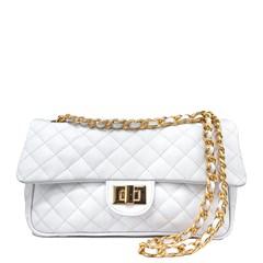 Bolsa em Couro Branco Matelassê 2469