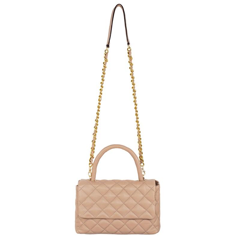 Bolsa em Couro Nude Matelassê Inspired Chanel 2469