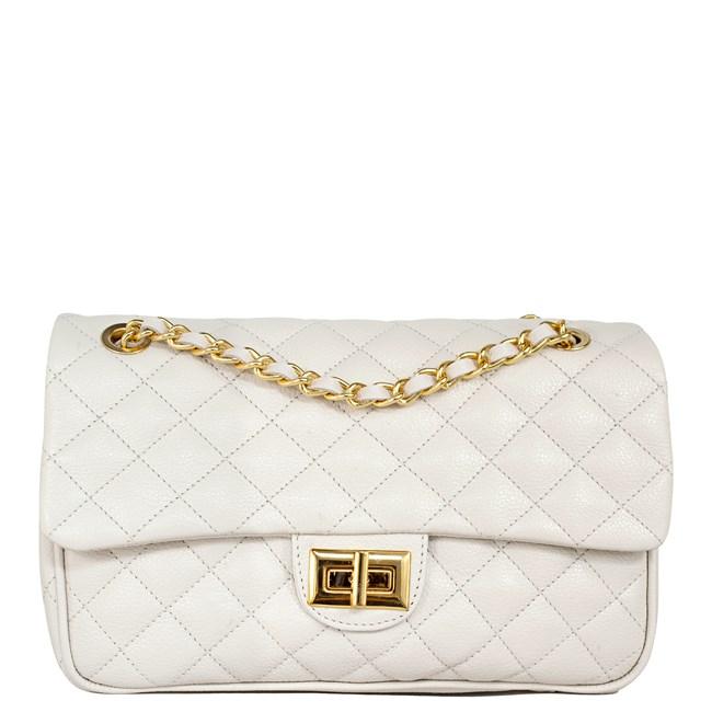 Bolsa em Couro Off White Matelassê 2469