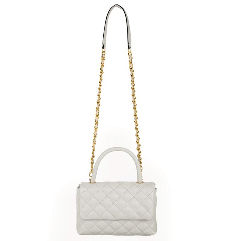 Bolsa em Couro Off White Matelassê Inspired Chanel 2469