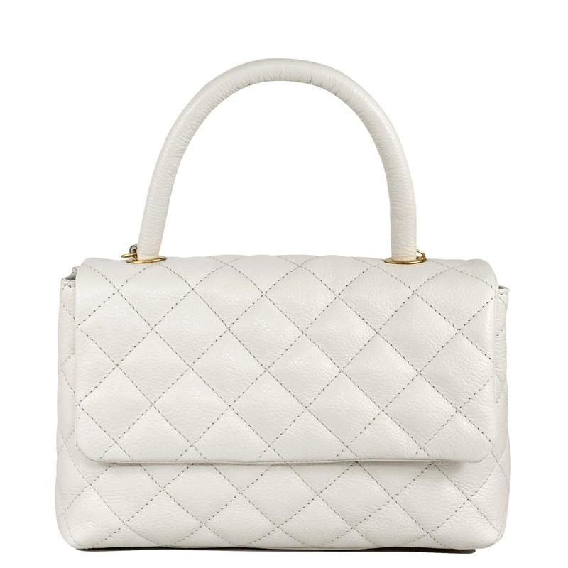 Bolsa em Couro Off White Matelassê Inspired Chanel 2691