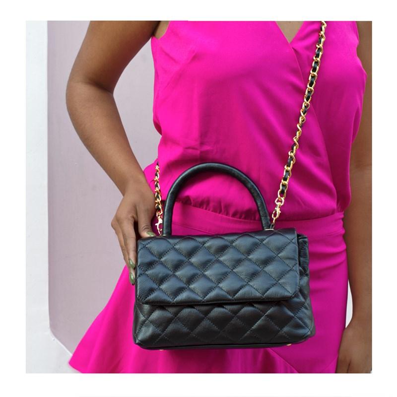Bolsa em Couro Preto Matelassê Inspired Chanel 2469
