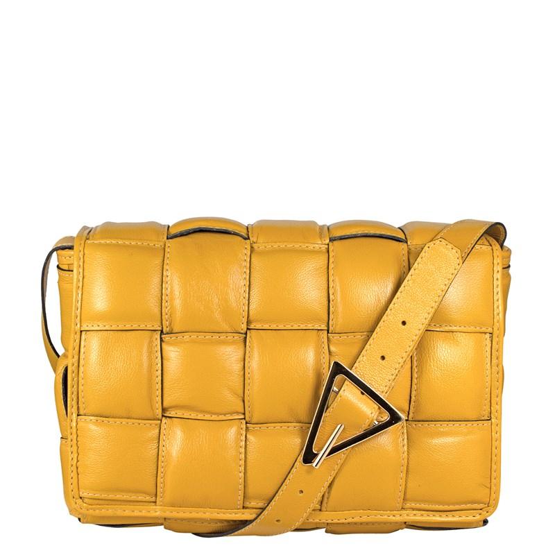 Bolsa Lindy em Couro Amarelo Inspiração Bottega Veneta  2479