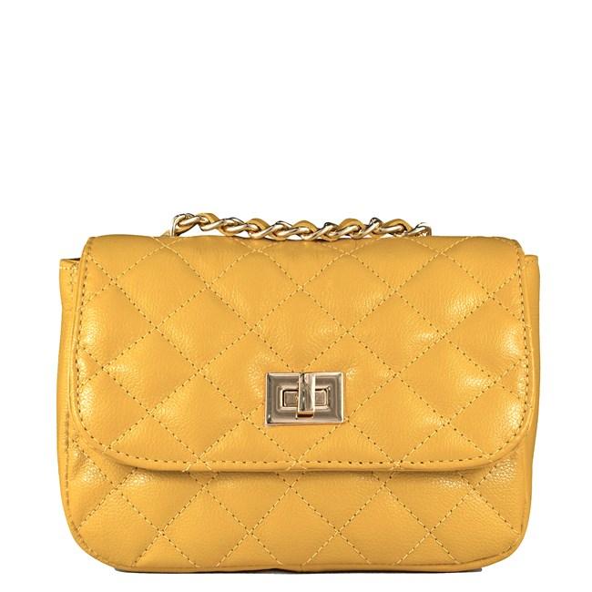Bolsa Pequena em Couro Amarelo Matelassê 2595