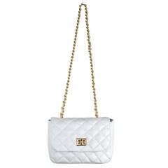 Bolsa Pequena em Couro Branco Matelassê 2595