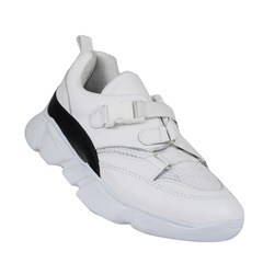 Chunky Sneakers Basic Fivela Couro Branco 50002
