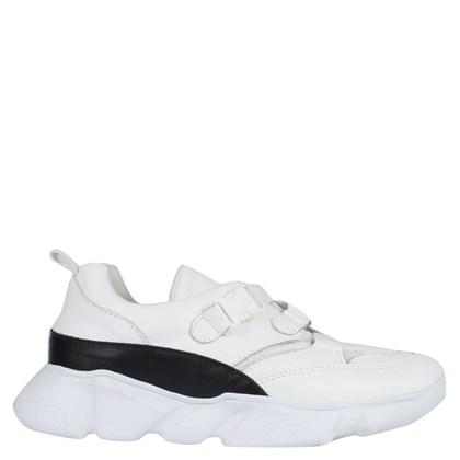 Chunky Sneakers Basic Fivela Couro Branco 50002