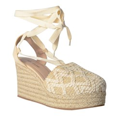 Espadrille Lace Up Karina em Tricô Natural 5328