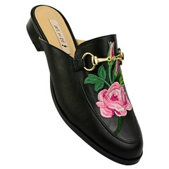 Mule Gucci Inspired Bordado em Couro Preto 549 - Recomendamos a compra de um número acima do normalmente usado