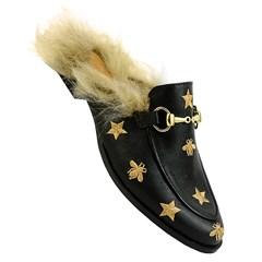 Mule Gucci Inspired com Abelhas e Pêlo em Couro Preto 587