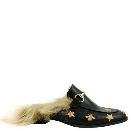 Mule Gucci Inspired com Abelhas e Pêlo em Couro Preto 587 - Recomendamos a compra de um número acima do normalmente usado