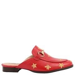 Mule Gucci Inspired com Abelhas em Couro Framboesa 586 - Recomendamos a compra de um número acima do normalmente usado