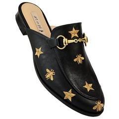 Mule Gucci Inspired com Abelhas em Couro Preto 586