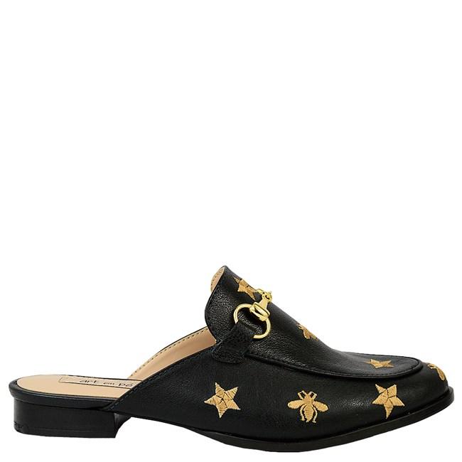Mule Gucci Inspired com Abelhas em Couro Preto 586 - Recomendamos a compra de um número acima do normalmente usado