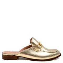 Mule Gucci Inspired Couro Ouro Metalizado 531