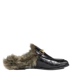 Mule Gucci Inspired em Couro Croco Preto com Pelo Aço 0-550 - Recomendamos a compra de um número acima do normalmente usado