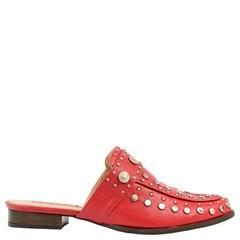 Mule Gucci Inspired em Couro Framboesa com Tachas 600 - Recomendamos a compra de um número acima do normalmente usado