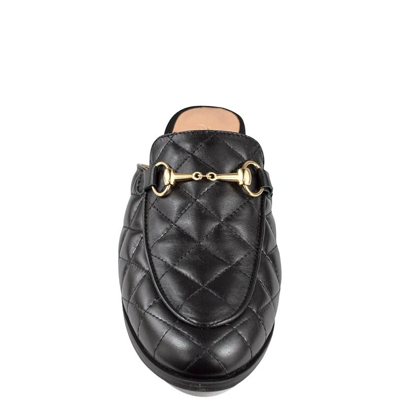 Mule Gucci Inspired em Couro Matelasse Preto 651 - Recomendamos a compra de um número acima do normalmente usado