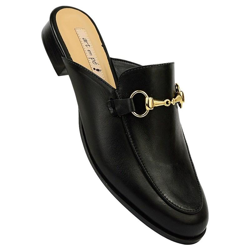 Mule Gucci Inspired em Couro Preto 531 - Recomendamos a compra de um número acima do normalmente usado