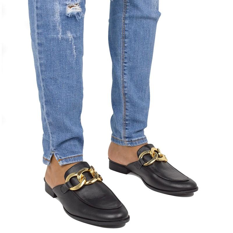 Mule Gucci Inspired em Couro Preto com Corrente 531