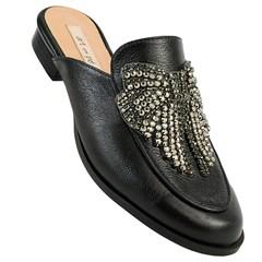 Mule Gucci Inspired em Couro Preto com Laço 603 - Recomendamos a compra de um número acima do normalmente usado