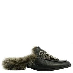 Mule Gucci Inspired em Couro Preto com Laço e Pêlo 603P - Recomendamos a compra de um número acima do normalmente usado