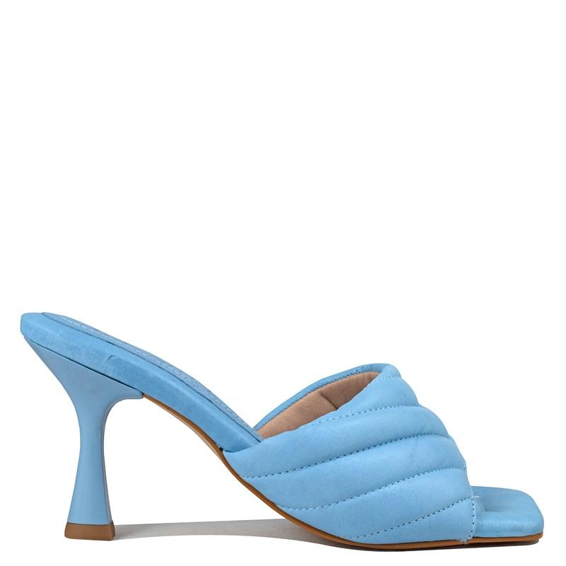 Mule Sasha Salto Taça Azul Sky Couro 5-109