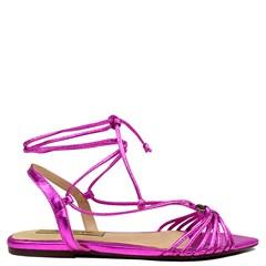 Rasteira Lace Up Gaia Couro Pink 91-2