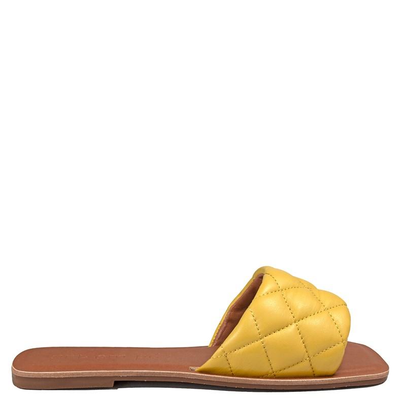Rasteira Sol Inspirado Bottega Veneta Couro Amarelo  001