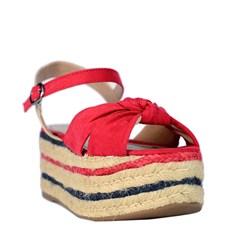 Sandália Flatform Nó em Suede Vermelho 4042