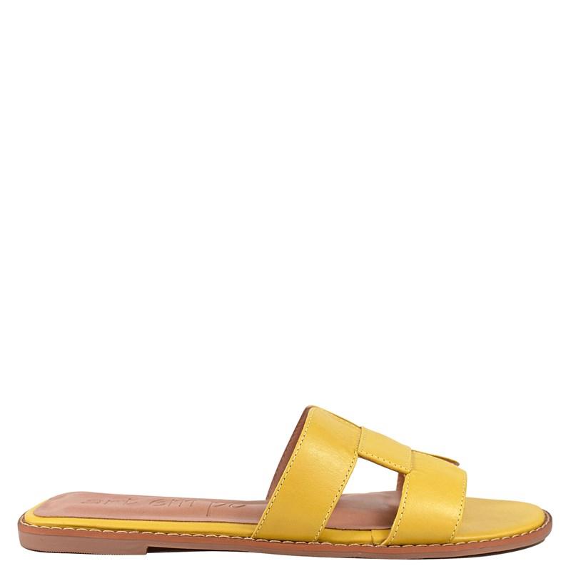 Sandália Hermes Inspired em Couro Amarelo 5-114