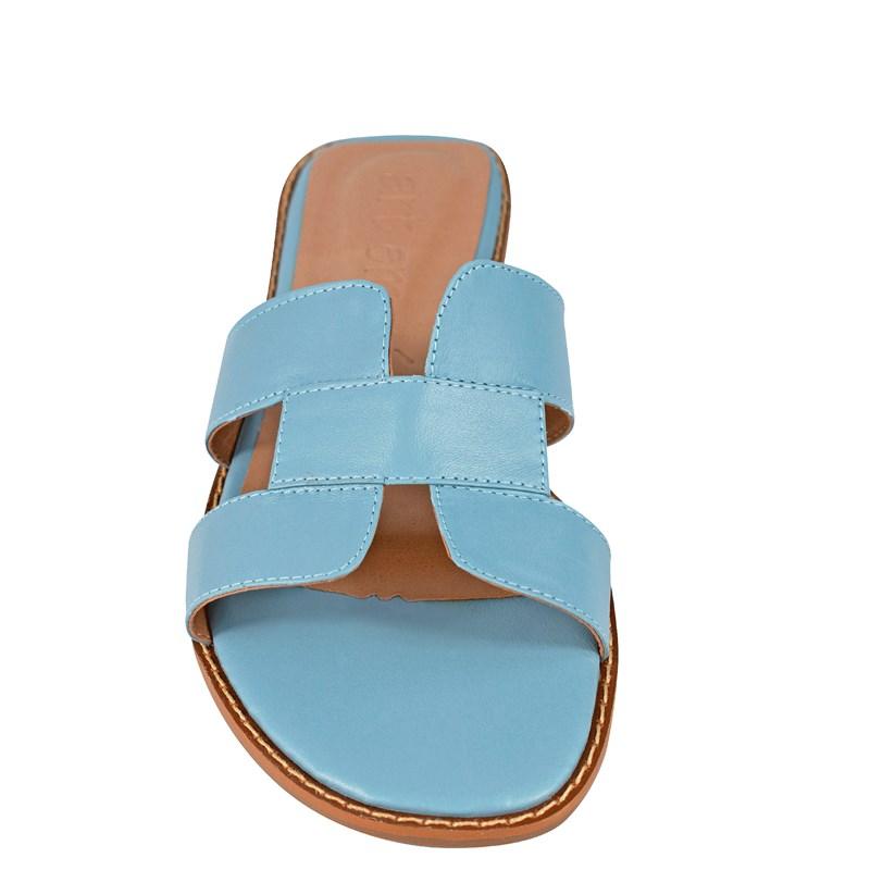 Sandália Hermes Inspired em Couro Azul 5-114