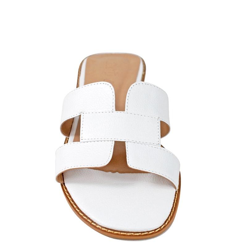 Sandália Hermes Inspired em Couro Branco 5-114