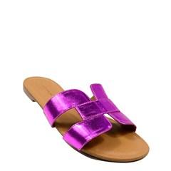 Sandália Hermes Inspired em Couro Metalizado Pink 114