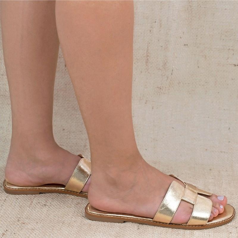Sandália Hermes Inspired em Couro Ouro 5-114