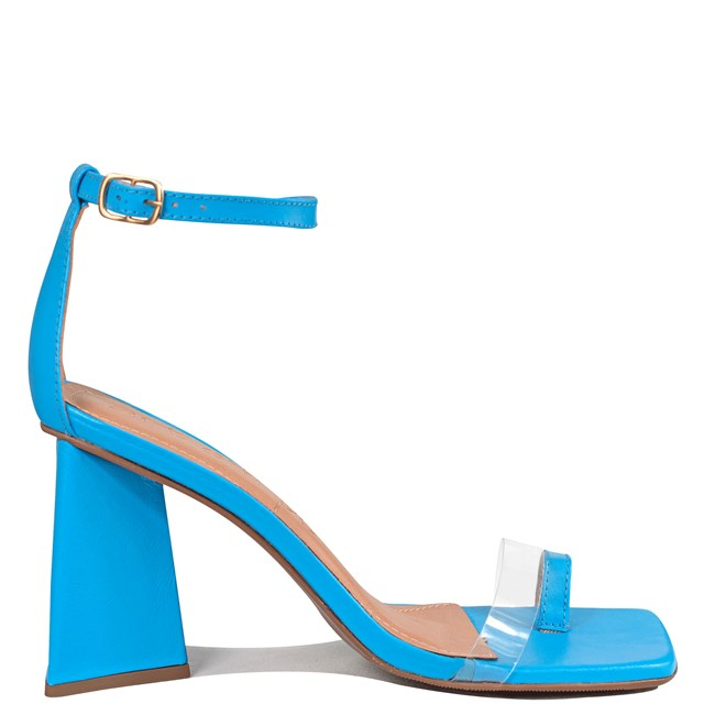Sandália Ivy Salto Pirâmide Couro Azul 0-201