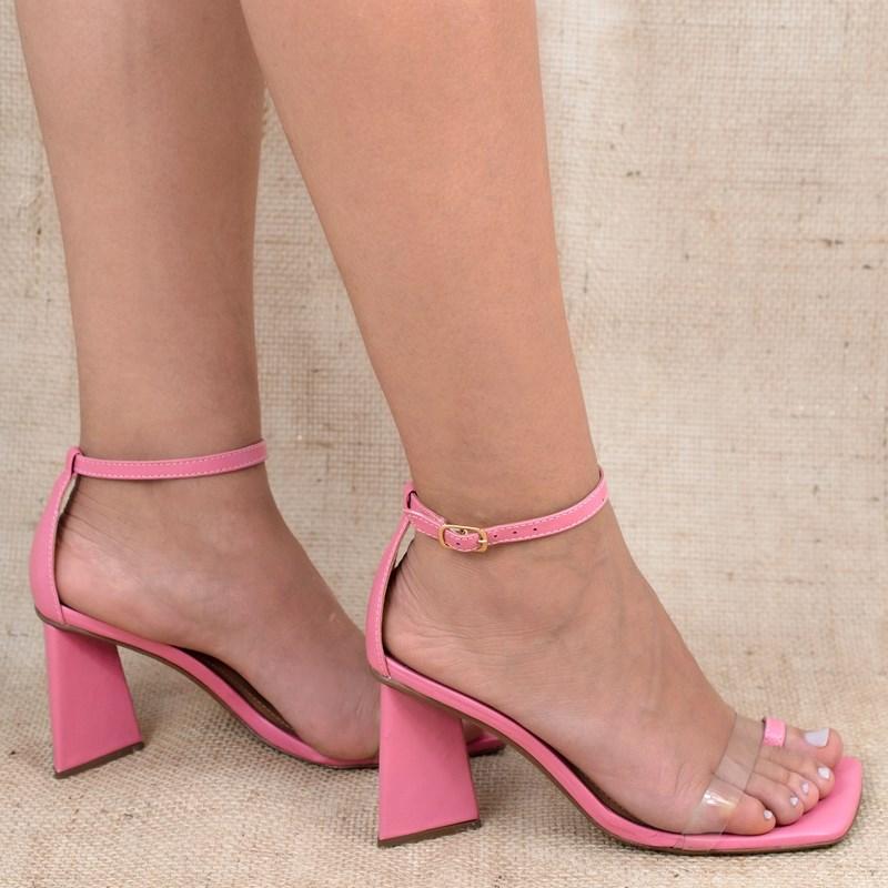 Sandália Ivy Salto Pirâmide Couro Rosa Chiclete 0-201