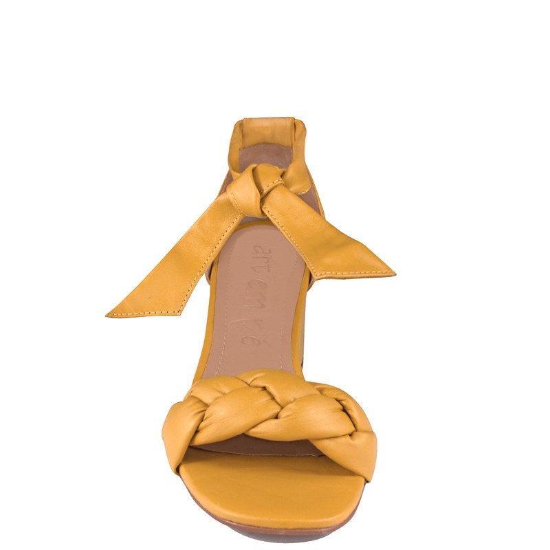 Sandália Luamar Salto Bloco em Couro Amarelo 0-120