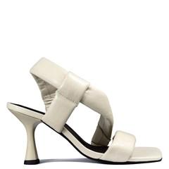 Sandália Luna Salto Taça Off White Couro Soft 5-102