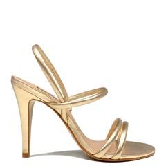 Sandália Paris Couro Metalizado Ouro 0117