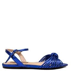 Sandália Rasteira Atena Azul Royal Couro 91-3