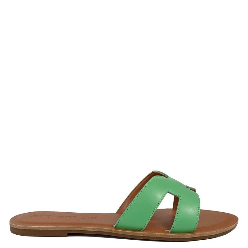 Sandália Rasteira H Couro Verde 002