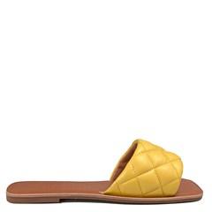 Sandália Rasteira Sol Couro Amarelo  001