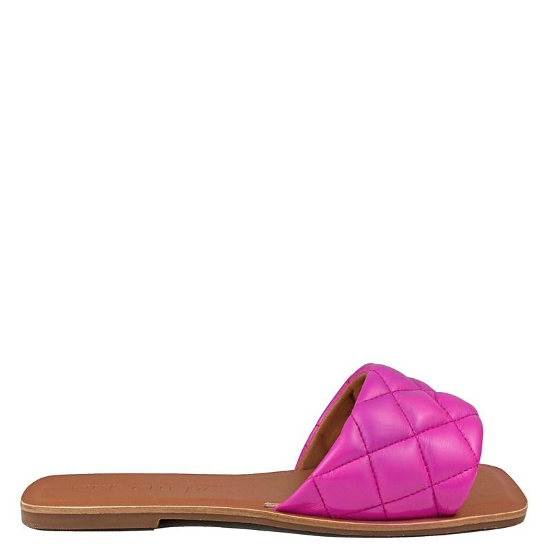 Sandália Rasteira Sol Couro Pink  001