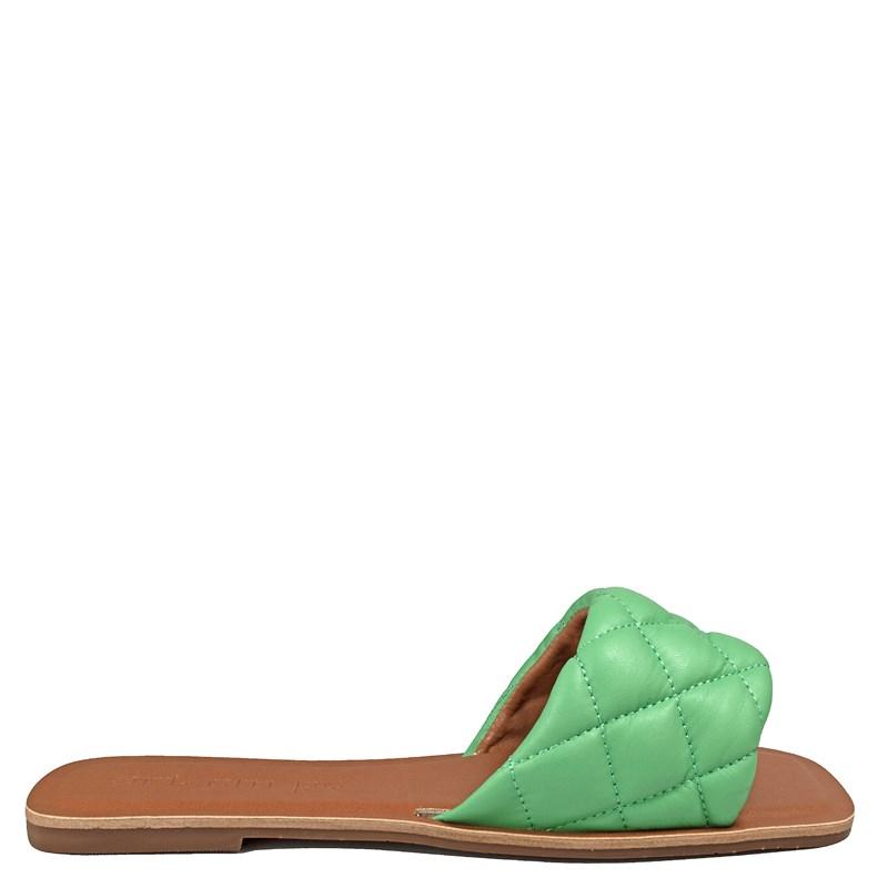 Sandália Rasteira Sol Couro Verde 001