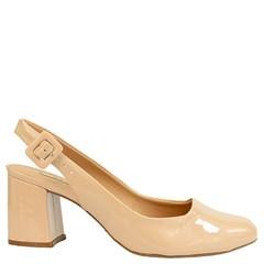 Sapato Salto Médio em Verniz Nude 9162