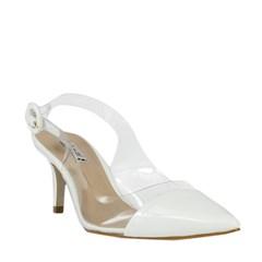 Scarpin Bianca Bico Fino Clear em Verniz Branco 5098