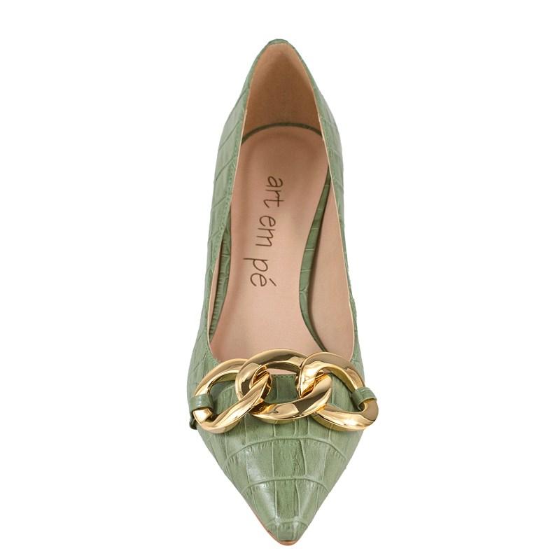 Scarpin Donna Couro Verde Caqui 5124