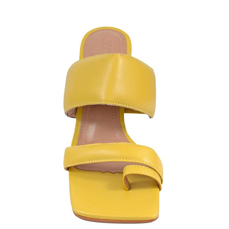 Tamanco Kim Salto Taça Amarelo Couro 5-128